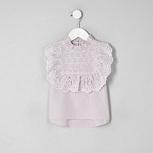 Mini girls purple broderie shirt