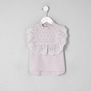 Chemise violette avec broderie anglaise pour mini fille