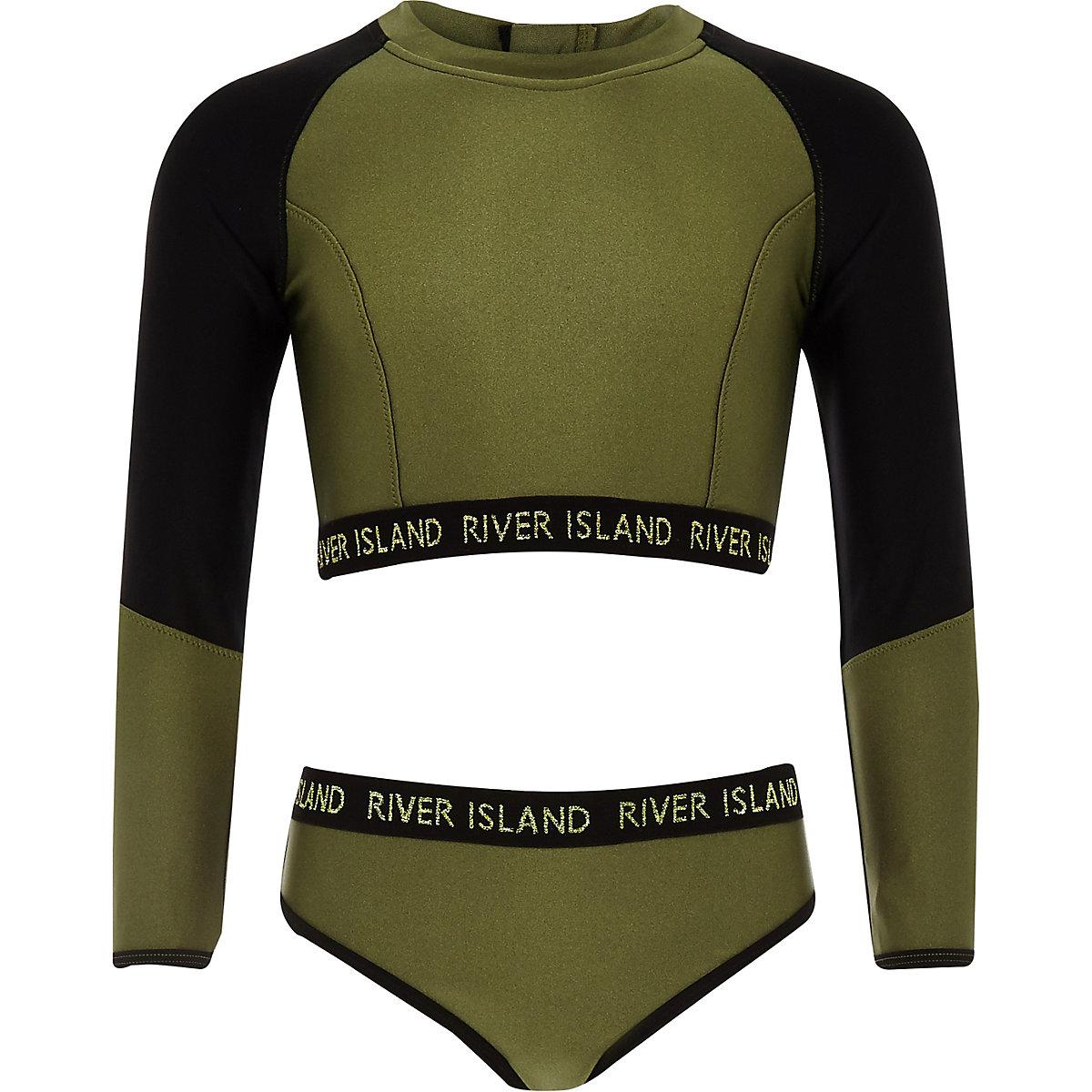 Girls khaki RI crop bikini set