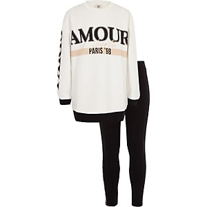 Girls cream 'Amour' sweatshirt outfit