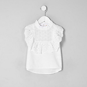 Mini girls white broderie sleeveless top