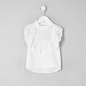 Mini - Witte mouwloze top met broderie voor meisjes