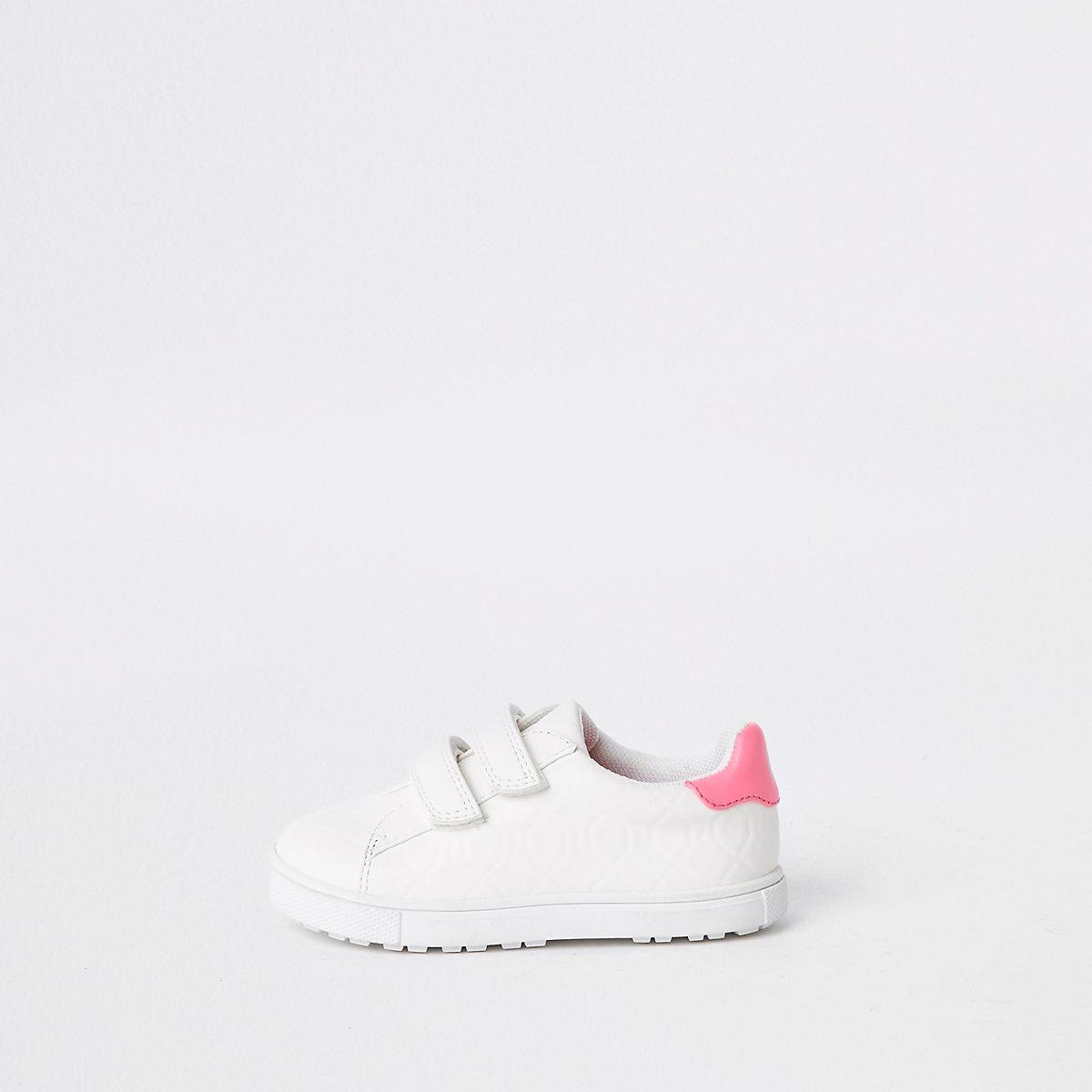 Mini girls white RI monogram sneakers
