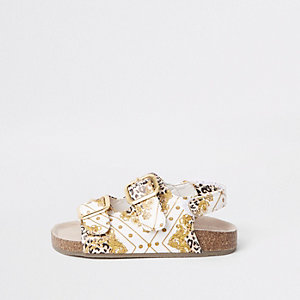 Mini girls brown baroque print cork sandals