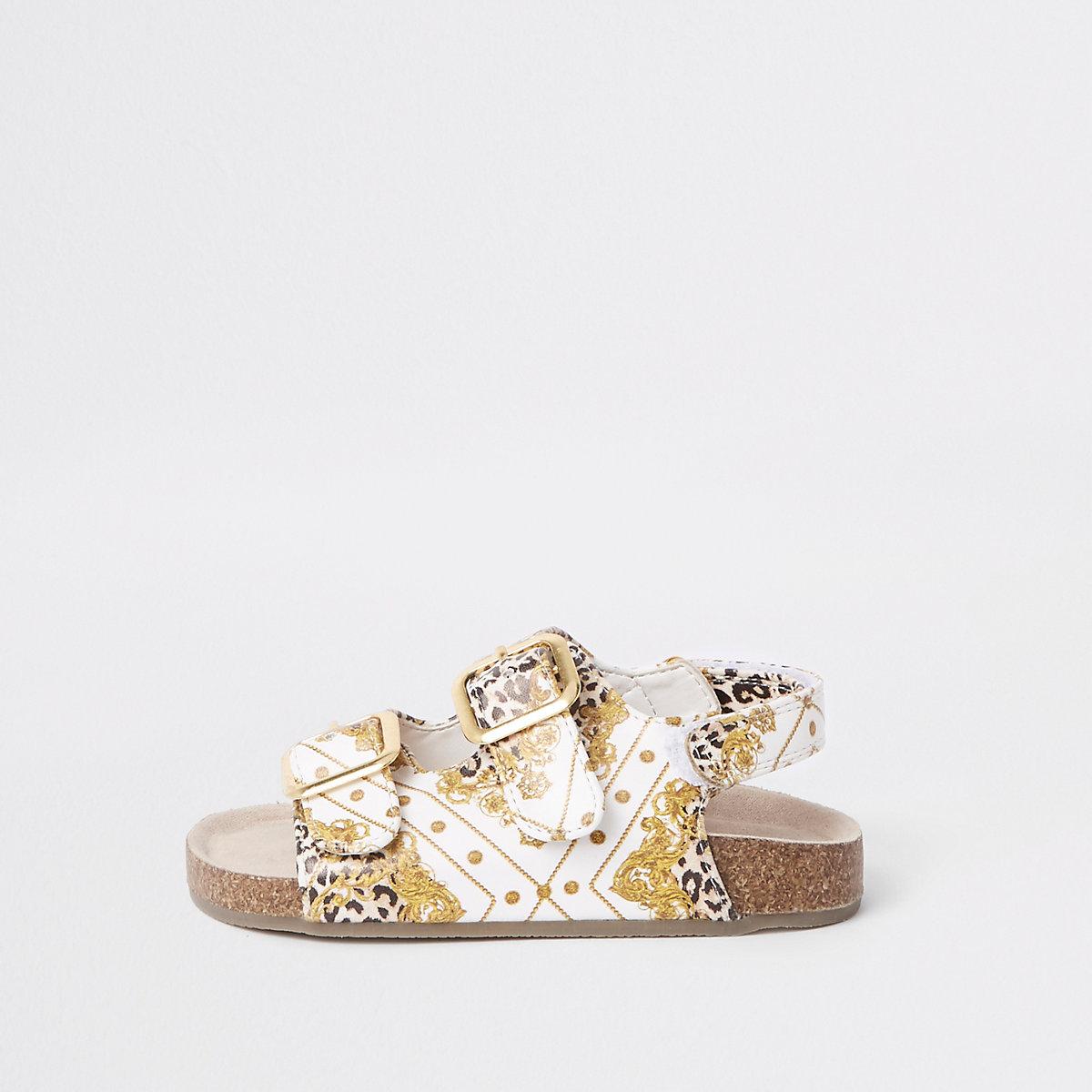 Mini girls brown baroque print cork sandals