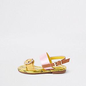 Mini - Gele sandalen met siersteentjes en gesp voor meisjes