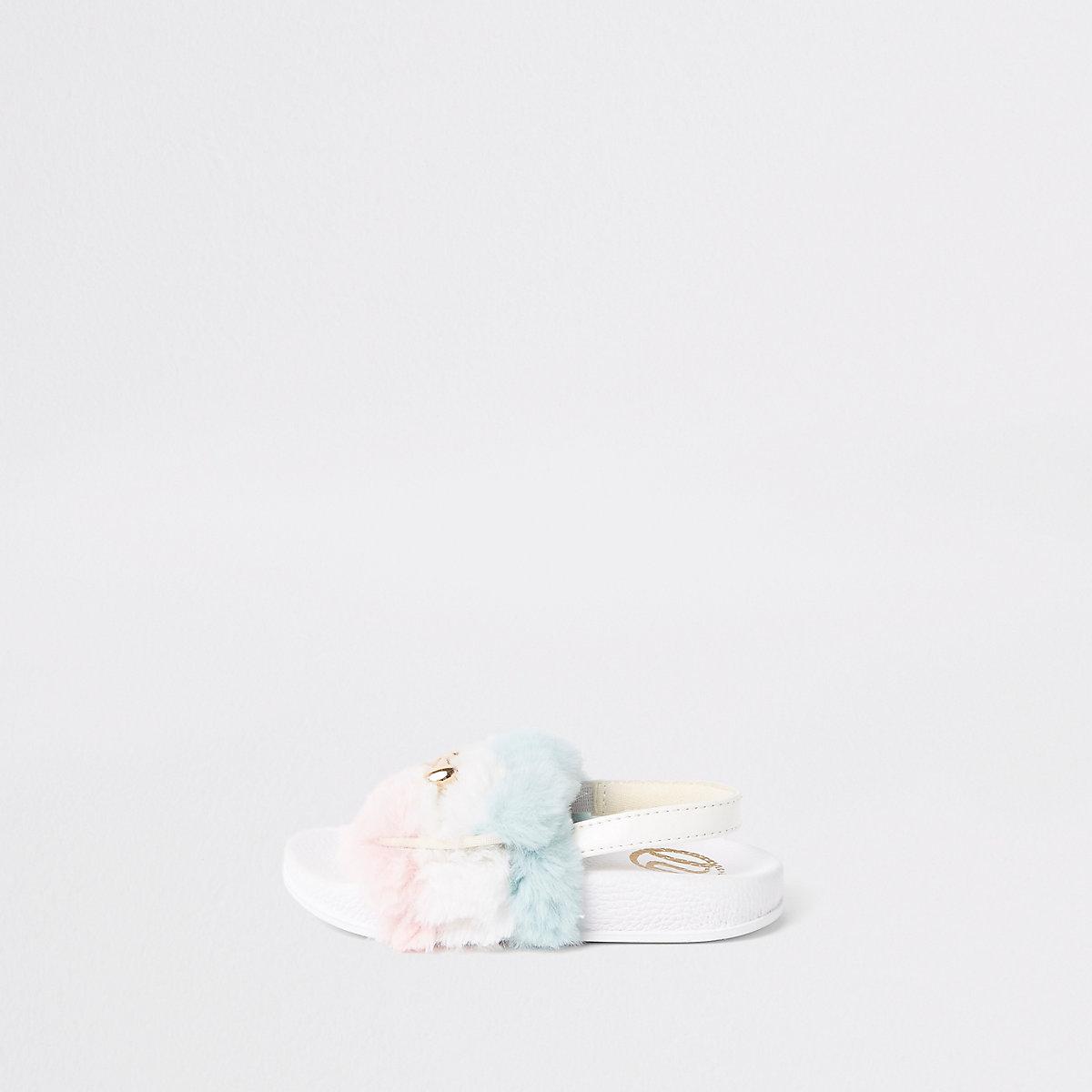 Mini girls white faux fur snaffle sliders