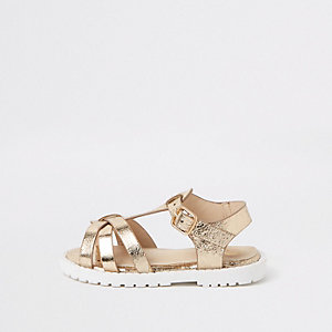Mini girls gold clumpy sandals