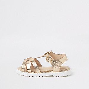 Sandales dorées épaisses pour mini fille