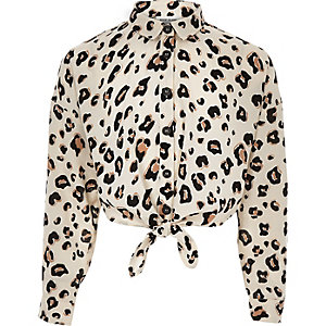 Girls brown leopard print tie front shirt