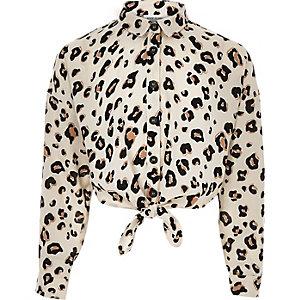 Bruin meisjesoverhemd met luipaardprint en strik voor