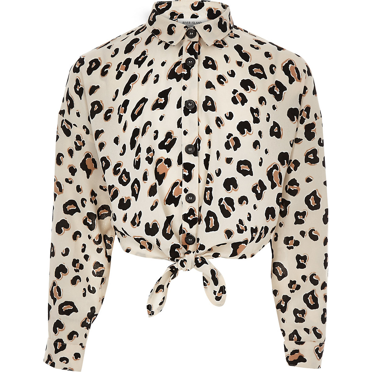 Girls brown leopard print tie front shirt