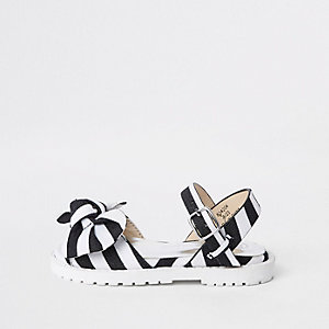 Mini girls black stripe chunky sandals