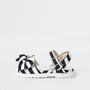 Sandales épaisses rayées noires pour mini fille