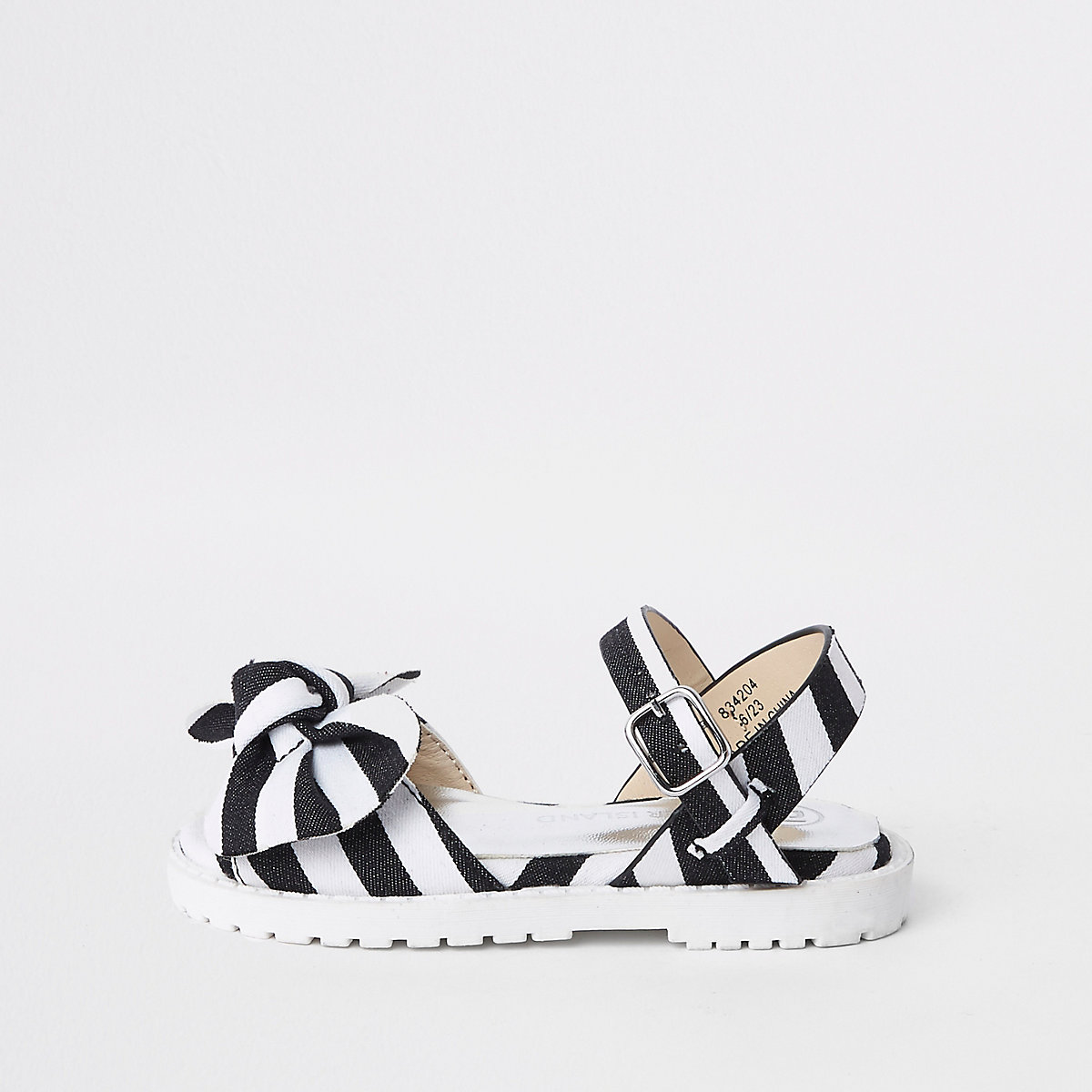 Mini girls black stripe chunky sandals