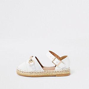 Sandales blanches à mors façon espadrilles pour mini fille