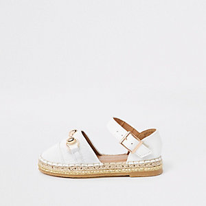 Mini girls white snaffle espadrille sandals