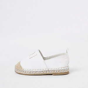 Mini girls white glitter espadrille plimsoll