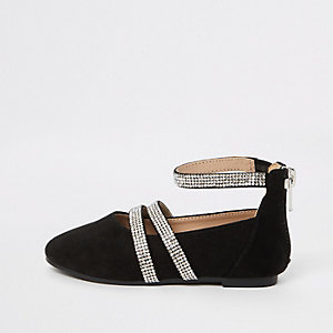 Mini girls black rhinestone ballet flats