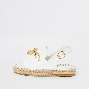Mini girls white espadrille trim sandals