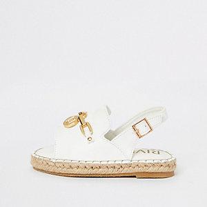 Sandales blanches avec bordure style espadrilles pour mini fille