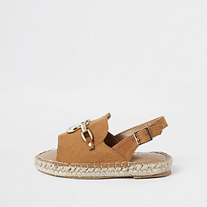 Mini girls brown chain espadrille sandals