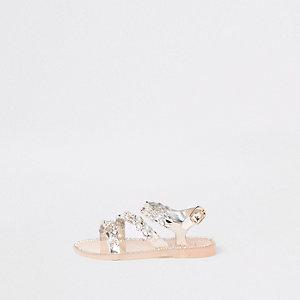 Sandales en plastique dorées à strass mini fille