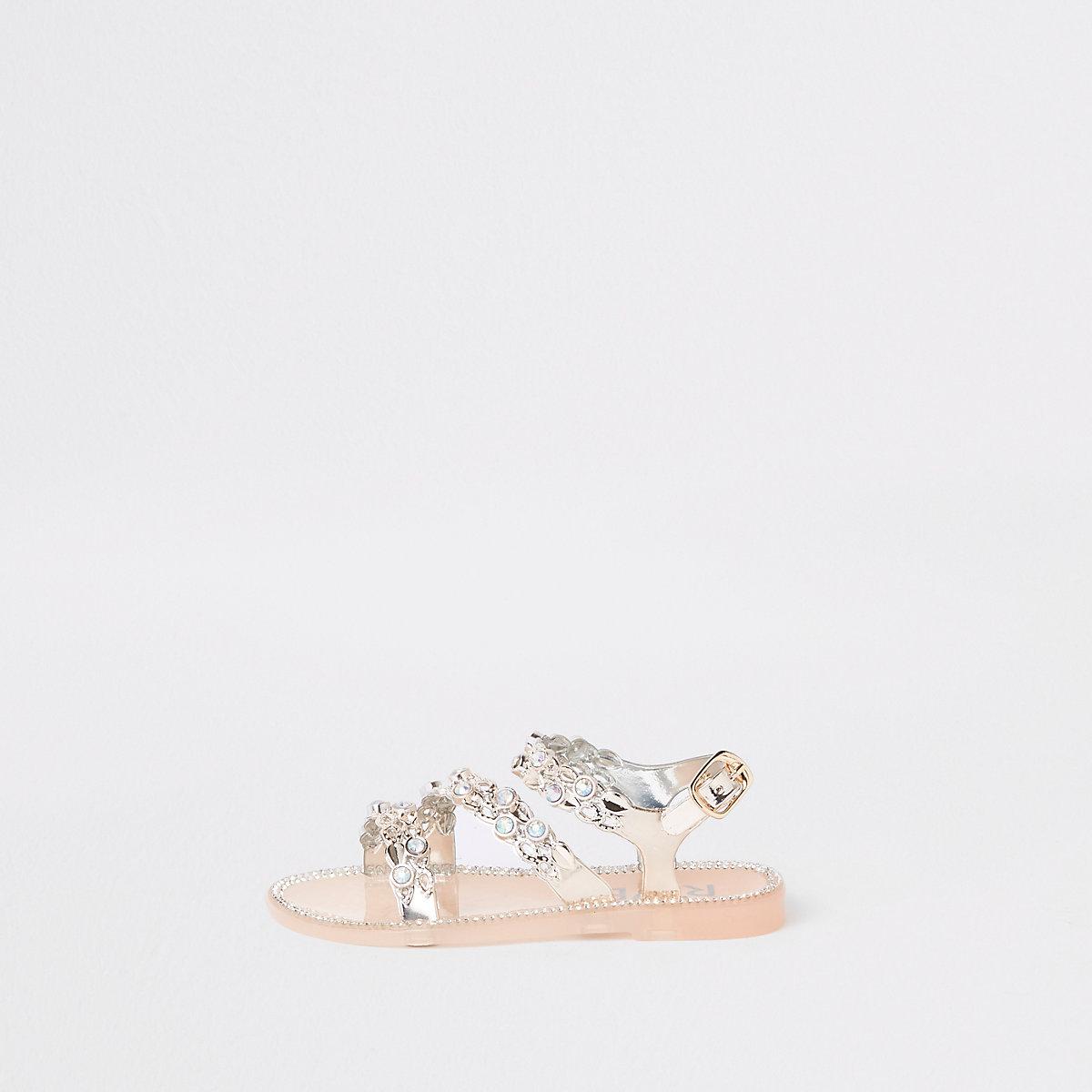 Mini girls gold rhinestone jelly sandals