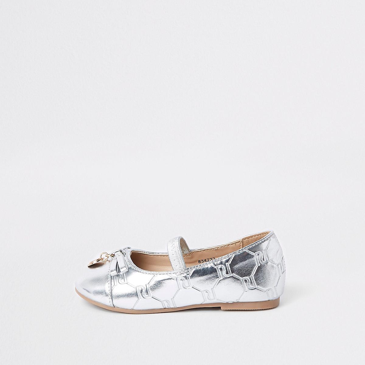 Mini girls silver RI monogram dolly shoes