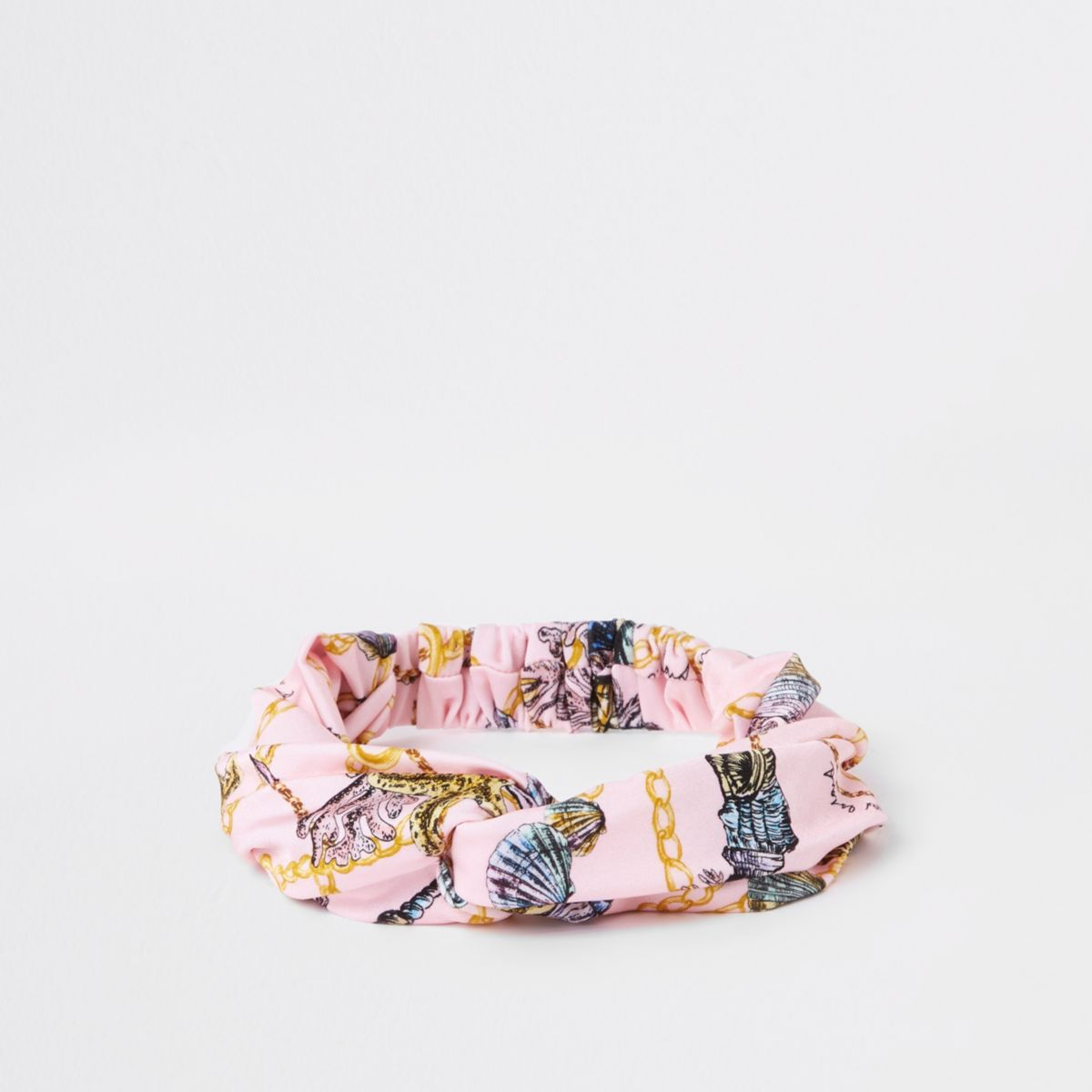 Girls pink shell print twist headband