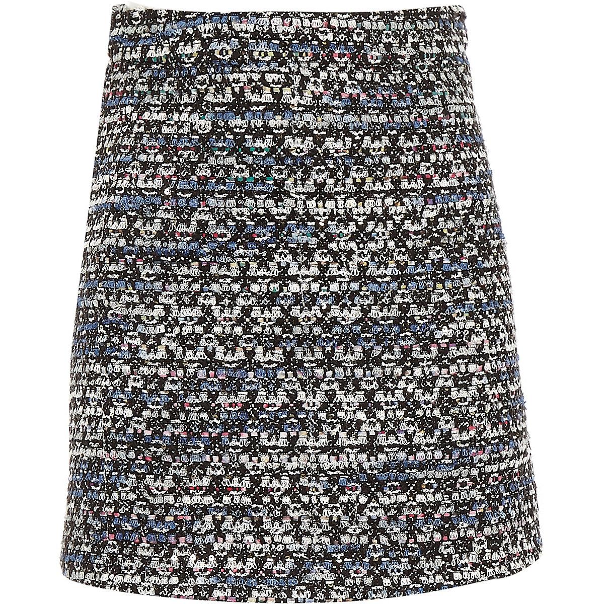 Girls dark blue boucle skirt