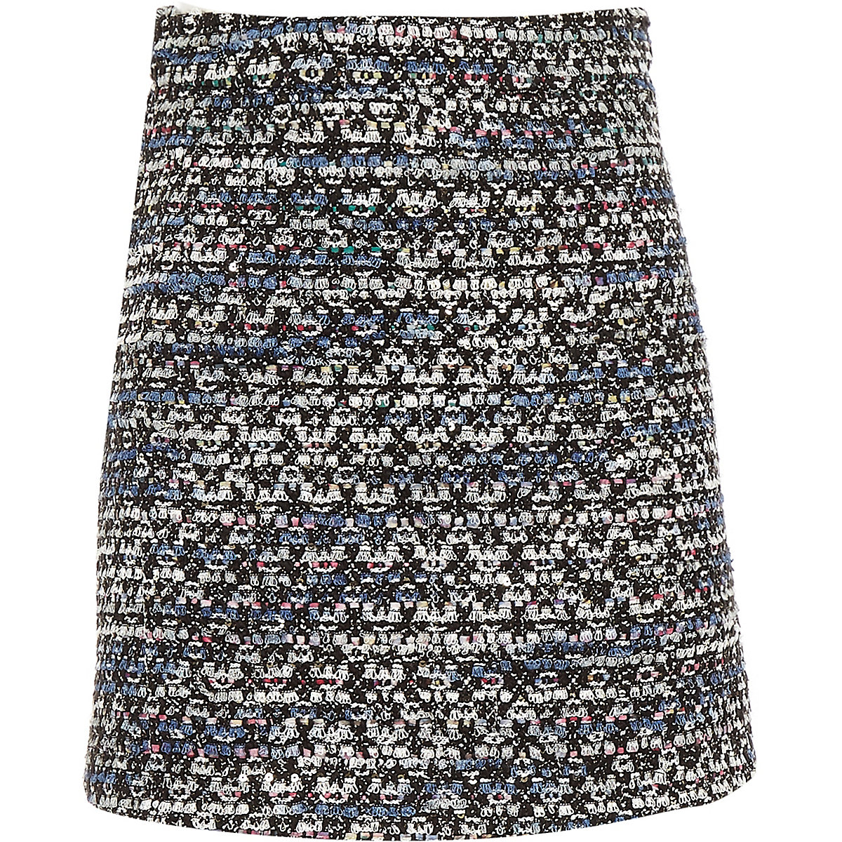 Girls dark blue boucle skirt