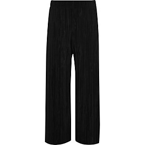 Girls black plisse wide leg pants