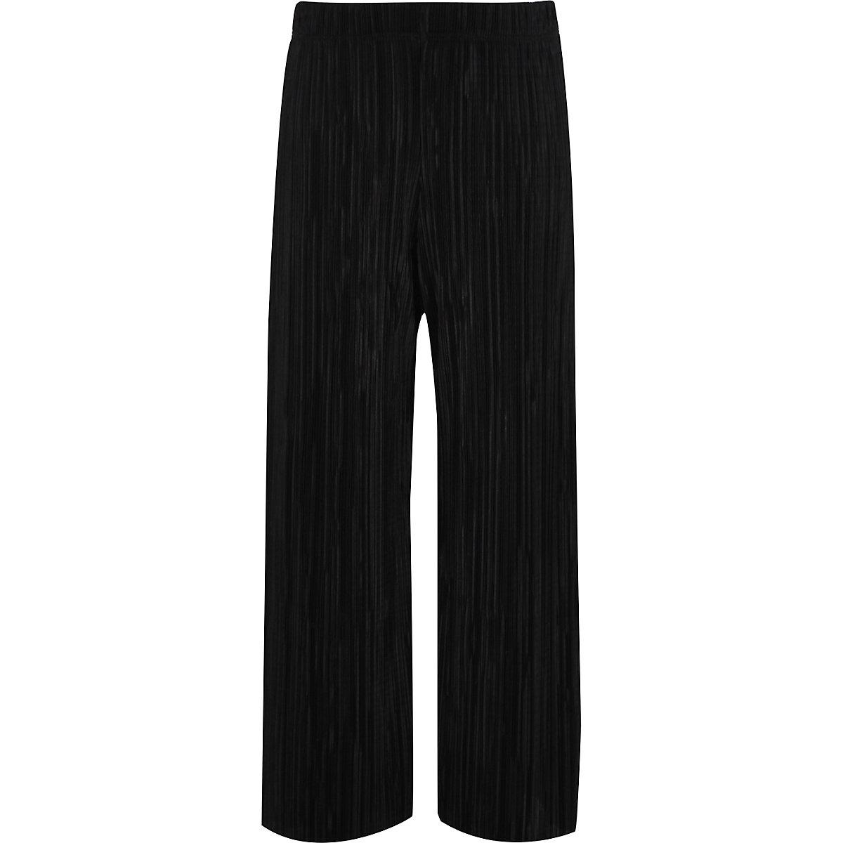 Girls black plisse wide leg pants