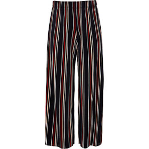 Girls blue stripe plisse wide leg trousers