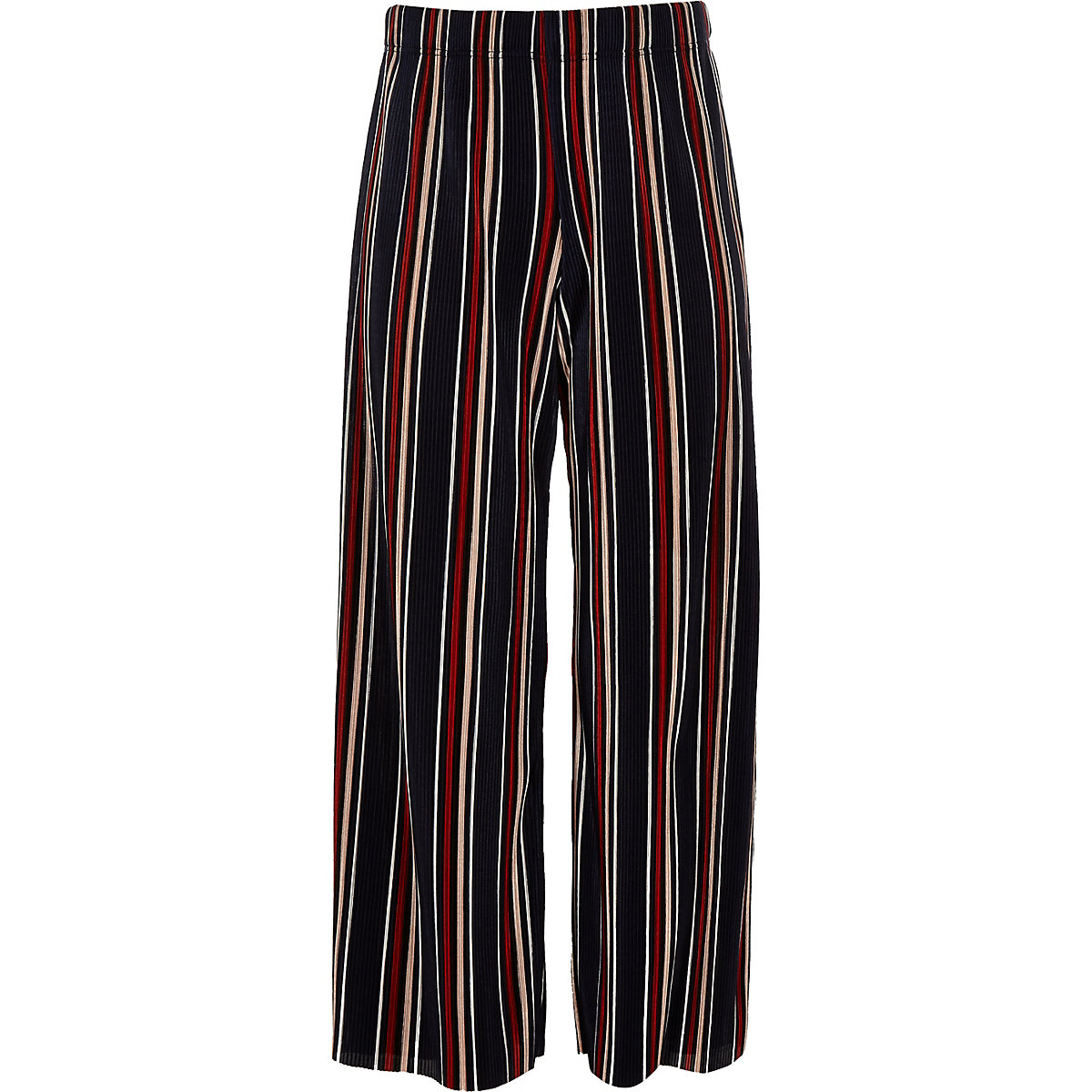 Girls blue stripe plisse wide leg trousers