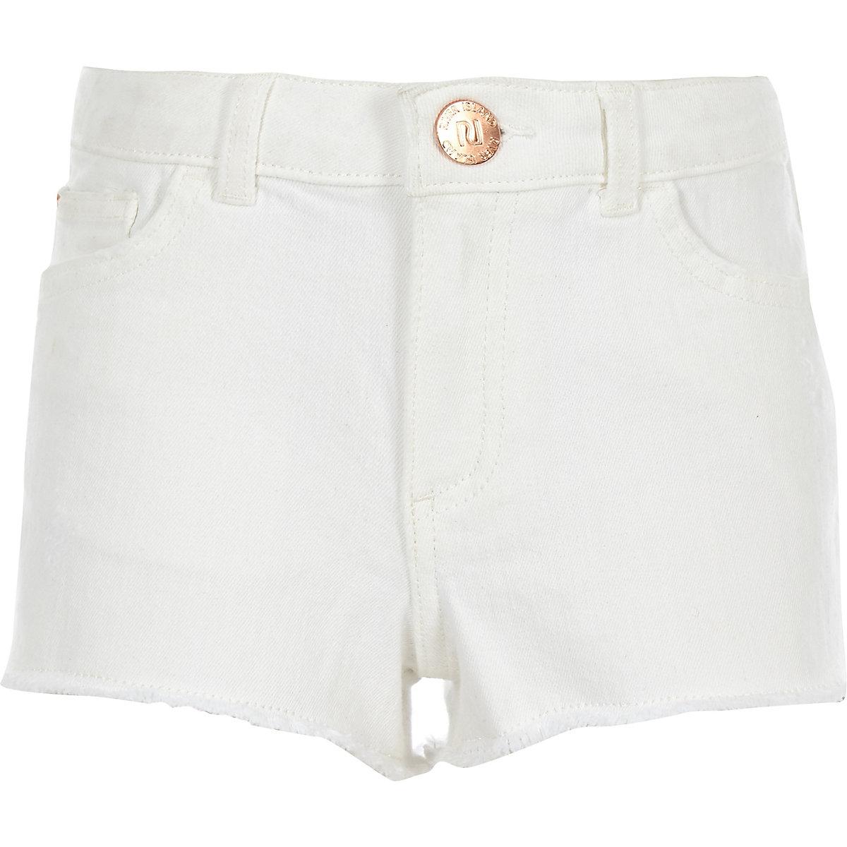 Girls white Becca boyfriend denim shorts