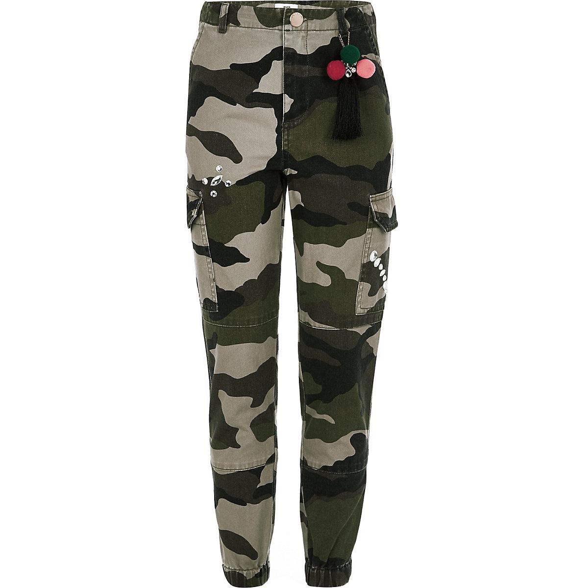Girls khaki camo embellished cargo pants