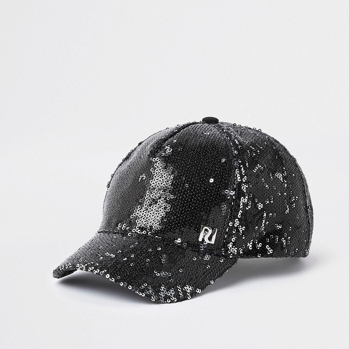 Girls black RI sequin baseball cap