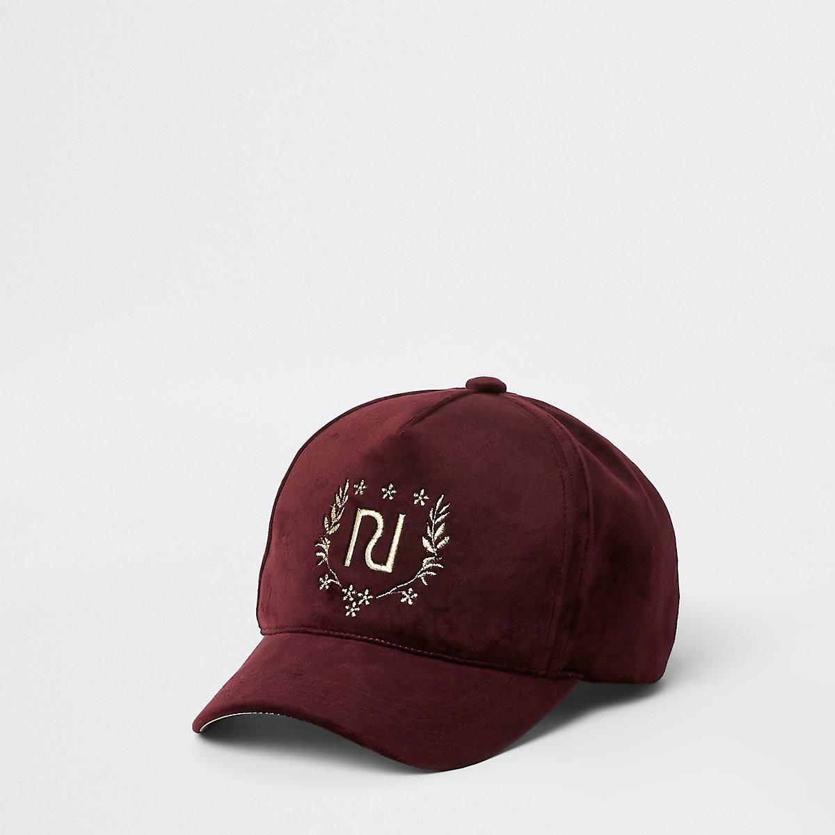 Girls dark red velvet RI crest cap