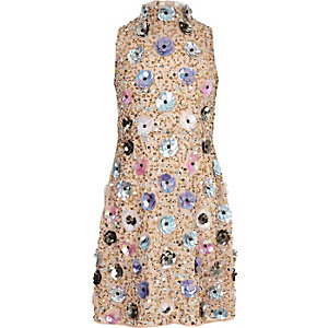 Girls beige 3D flower embellished dress