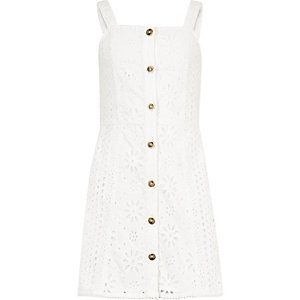 Girls white broiderie cami dress