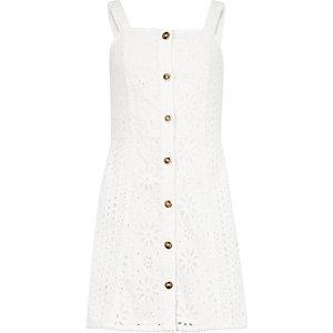 Robe en broderie anglaise blanche à bretelles fines pour fille