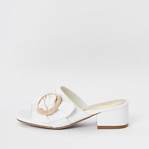 Girls white buckle mule sandals