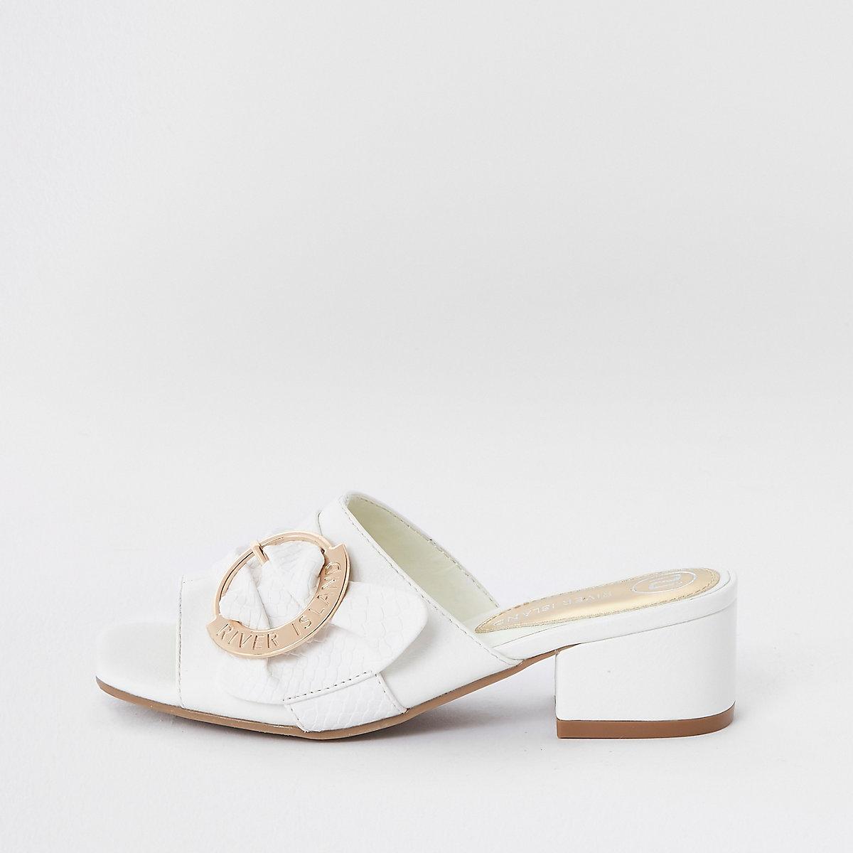 Girls white buckle mule sandals