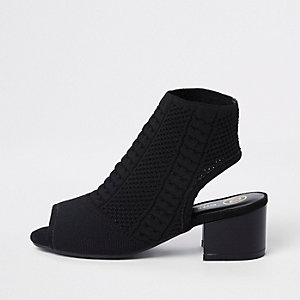 Black peep toe sock shoe boots