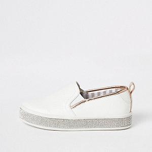 Girls white rhinestone trim slip on plimsolls