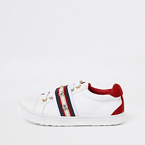 Girls white gem tape plimsolls