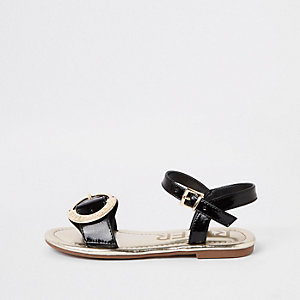 Girls black RI buckle sandals