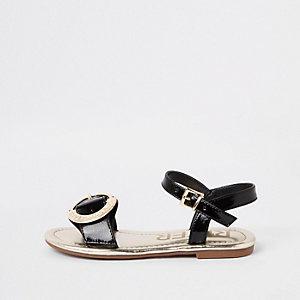 Zwarte sandalen met RI-logo en gesp voor meisjes